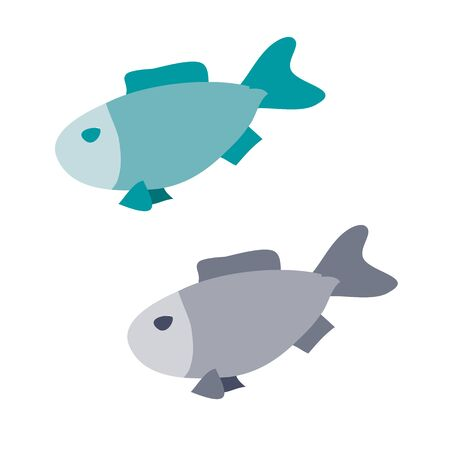 set of two fish, flat, isolated object on a white background, vector illustration, Vectores