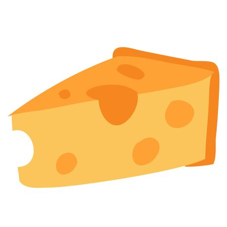piece of cheese, flat, food, isolated object on a white background, vector illustration,