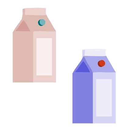 set of two packets of milk in different colors, flat, isolated object on fucking background, vector illustration, Иллюстрация