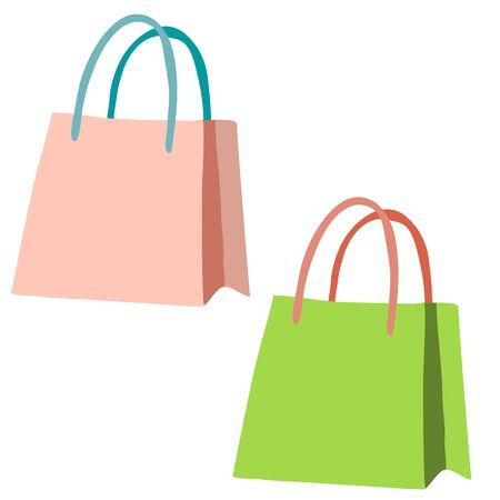 set of two grocery bags, isolated object on a white background, vector illustration, eps
