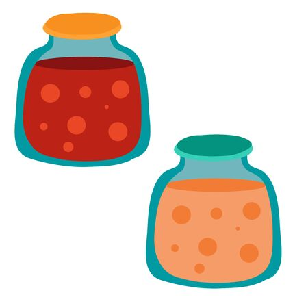 set of two cans with compote, isolated object on a white background, vector illustration, Vectores