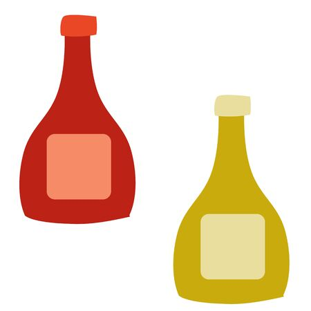 set of two bottles with sauce, flat, isolated object on a white background, vector illustration,