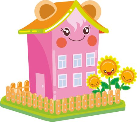 pink multi-story kawaii house with ears, around a garden with sunflowers, isolated object on a white background, vector illustration, eps