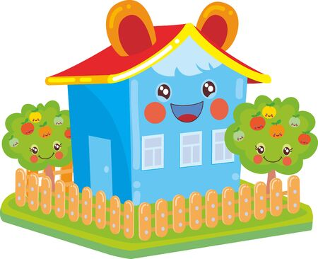blue kawaii house with ears, around a garden with apple trees, isolated object on a white background, vector illustration, eps
