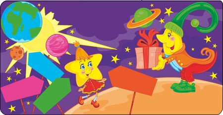 on an unknown planet star character receives a gift from the month, around the signs and in the sky you can see the earth, vector illustration, illustration for the cartoon, eps