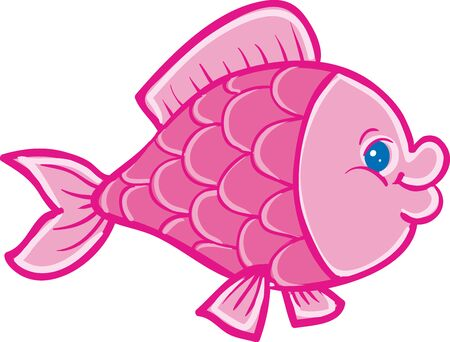 pink fish, isolated object on a white background, vector illustration, eps Vectores