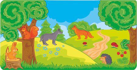 forest landscape with wild animals, vector illustration, illustration, for cartoon, eps