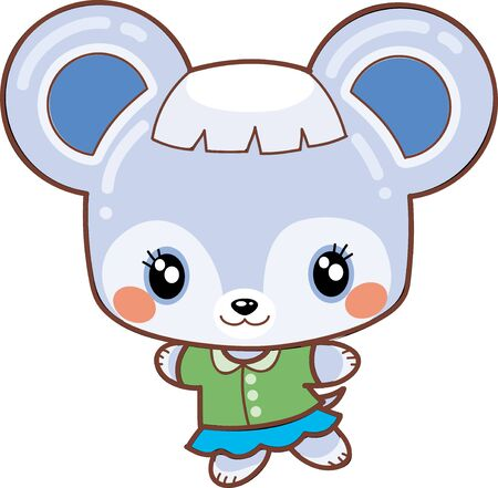 kawaii mouse in a green blouse and blue skirt, isolated object on a white background, vector illustration