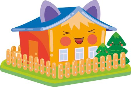 kawaii house with ears around the garden with a tree ,, isolated object on a white background, vector illustration, eps