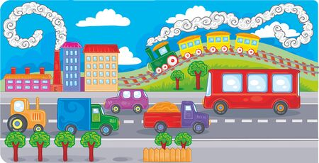 cartoon illustration, cityscape with tall houses, cars and wide roads, vector illustration, eps Vectores