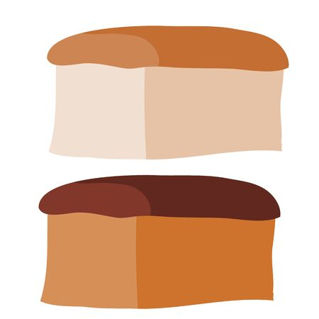 set of two loaves of light and dark bread, flat, isolated object on a white background, vector illustration, eps