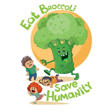 eat broccoli save people poster, children run away from big broccoli, isolated object on white background, vector illustration, eps