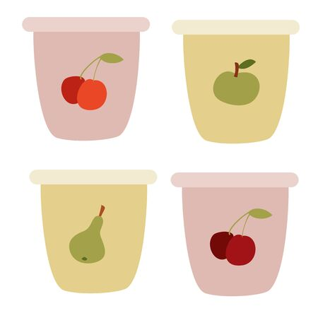 set of yogurt cups, flat, isolated object on a white background, vector illustration, eps Vectores