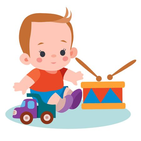 boy sitting among his toys a drum, typewriter, flat, isolated object on a white background, vector illustration,