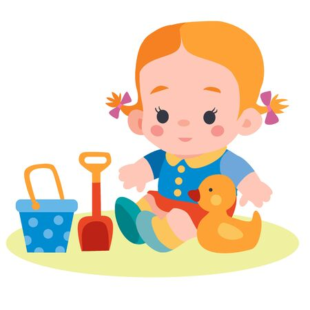 girl sitting in a sandbox with a bucket and a spatula and a duck, flat, isolated object on a white background, vector illustration,