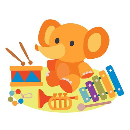 set of toys baby elephant, xylophone, drum, trumpet, musical instruments, flat, isolated object on a white background, vector illustration,