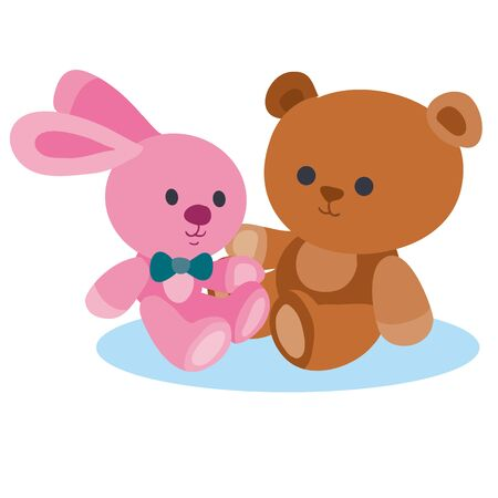 plush toys teddy bear and bunny, flat, isolated object on a white background, vector illustration, Vettoriali
