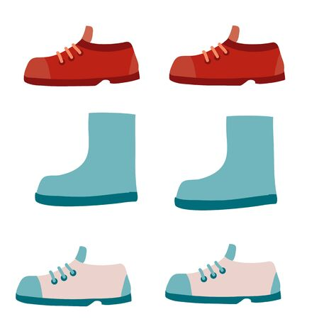 set of shoes boots and boots, flat, isolated object on a white background, vector illustration,