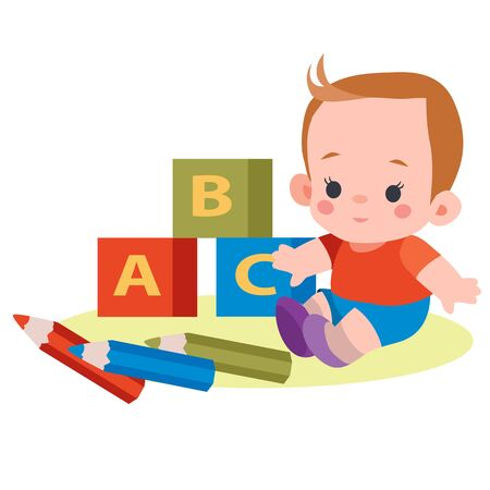 boy sits among cubes with letters and pencils, flat, isolated object on white background, vector illustration,