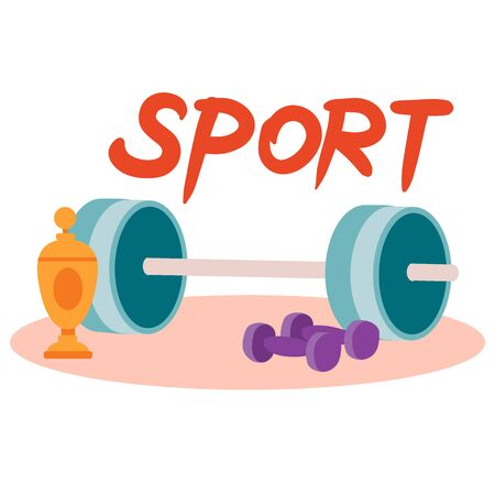 set of barbell, dumbbell and golden cup, isolated object on a white background, vector illustration, Vecteurs