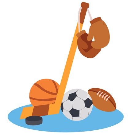 set of sports equipment, isolated object on white background, vector illustration, Stock Illustratie