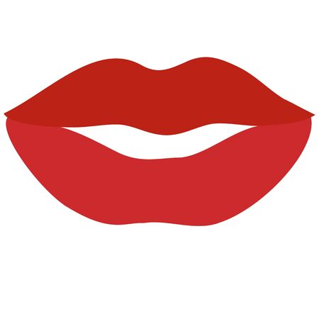 lips, flat, isolated object on a white background, vector illustration, Vetores