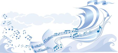musical background from notes, a musical staff, in blue color, vector illustration, eps Vector Illustration