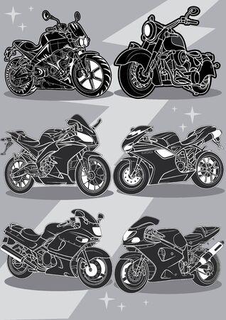 set of stylized motorcycles. vector illustration
