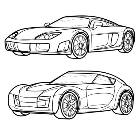 set of sports car sketches, coloring book, isolated object on white background, vector illustration Vector Illustration