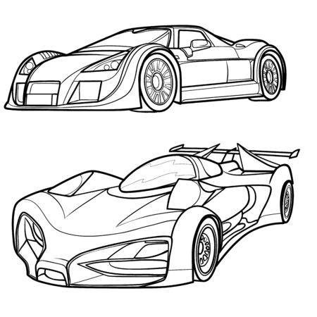 set of sports car sketches, coloring book, isolated object on white background, vector illustration