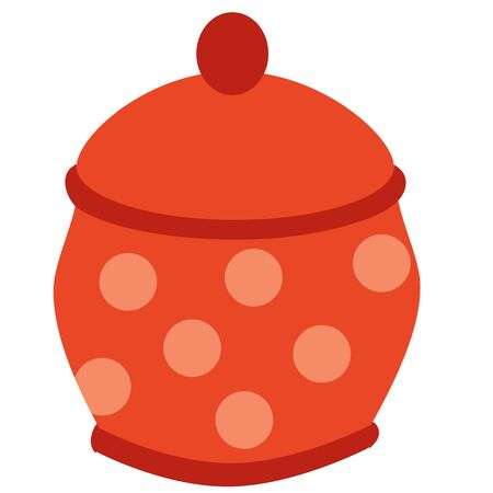 cute red polka dot sugar bowl, flat, isolated object on white background, vector illustration,
