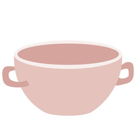 cute tureen for one serving, isolated object on a white background, flat, vector illustration,
