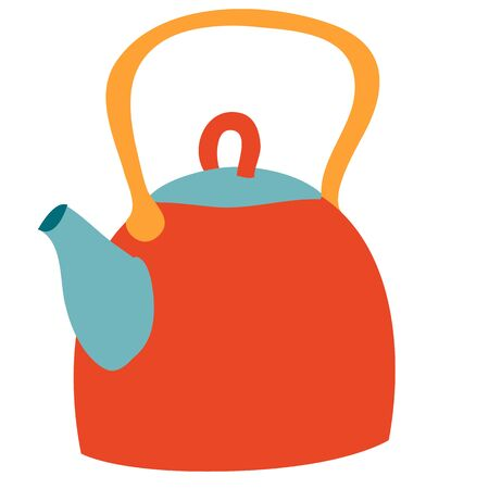 cute kettle, flat, isolated object on a white background, vector illustration