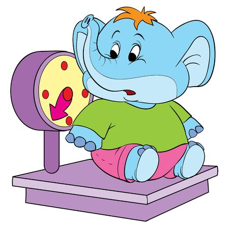 cute elephant character sits on large scales and is surprised, isolated object on a white background, vector illustration