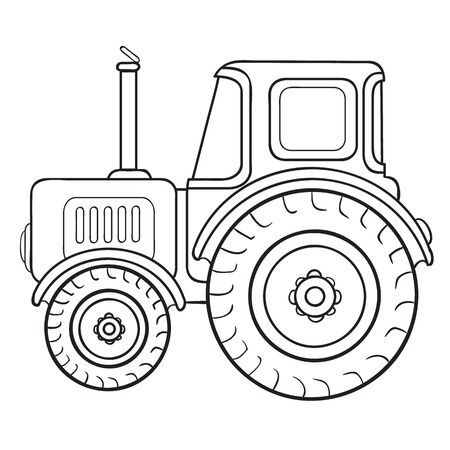 cartoon illustrationtractor sketch, coloring book, isolated object on white background, vector illustration, 일러스트