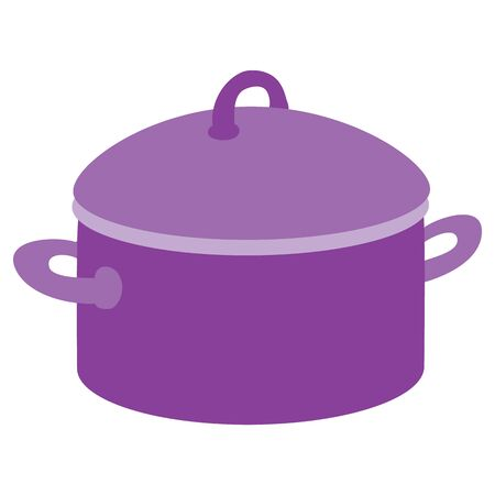 cute violet pan, flat, isolated object on a white background, vector illustration,