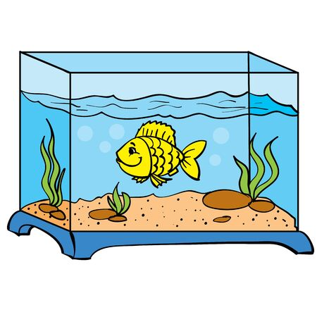 square blue aquarium and one goldfish swims in it, isolated object on a white background, vector illustration, eps Vectores