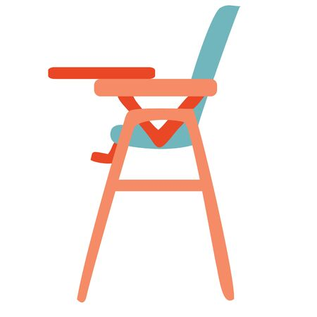 Baby high chair flat square icon with long shadows., isolated object on a white background, vector illustration Ilustrace