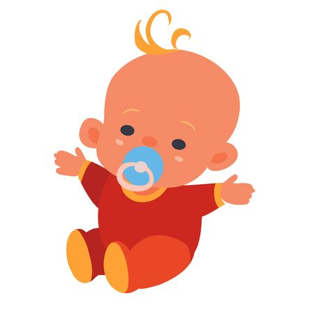 baby in a red suit and with a blue pacifier, flat, isolated object on a white background, vector illustration, eps