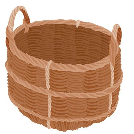 brown wicker basket for harvesting from the garden, flat, isolated object on a white background, vector illustration,  イラスト・ベクター素材