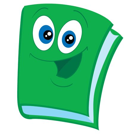 cute green paper character with big eyes, mascot, isolated object on a white background, vector illustration, eps