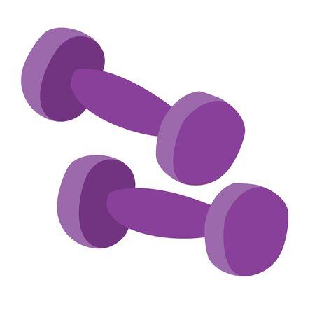 two dumbbells of violet color isolated object on a white background. vector illustration