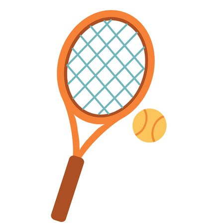 tennis racket with ball isolated object on a white background. vector illustration Vectores