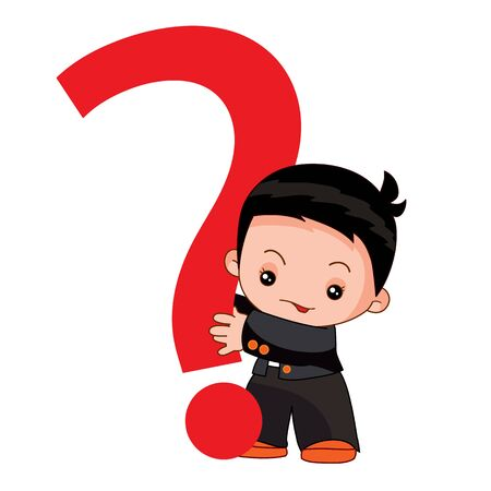 cute baby in a business suit holding a big red question mark in his hands, cartoon illustration, isolated object on a white background, vector illustration, eps