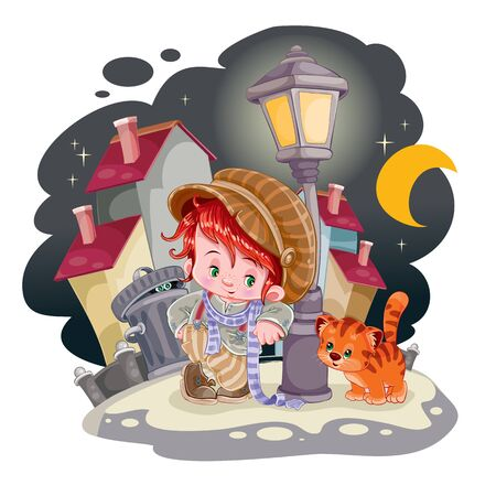 cute boy in a big cap and a long coat with his red cat in the courtyard of a big city, around there are darkness and big houses, in the moonlight. vector illustration