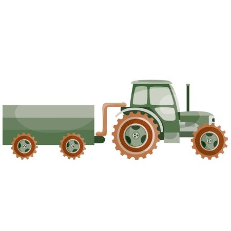 transport tractor with trailer for agricultural work, flat, cartoon illustration, isolated object on a white background, vector illustration,