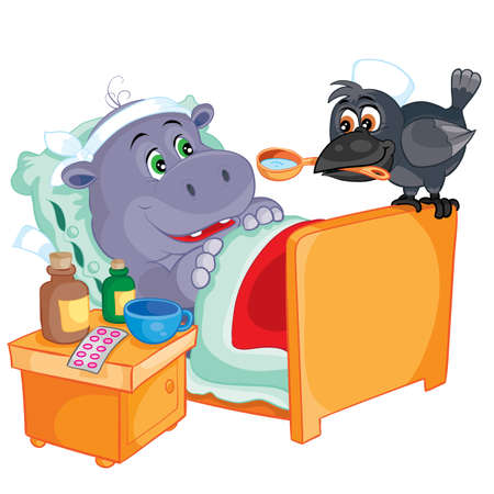 a cute hippo is sick and lies in a bed with his head bandaged.