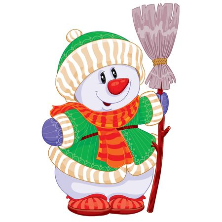 cute snowman in a knitted hat, in a knitted jacket and with a knitted scarf holds a broom in his hands, isolated object on a white background, cartoon illustration, vector illustration, eps