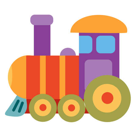 cute colored steam train toy, flat, isolated object on white background, vector illustration