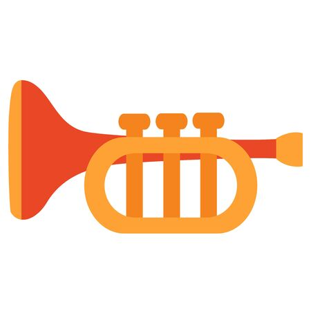 trumpet toy, musical instrument, flat, isolated object on a white background, vector illustration, eps